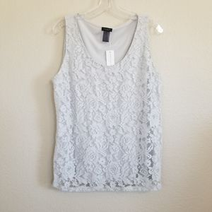 NWT Ann Taylor Factory Light Grey Lace Tank Top